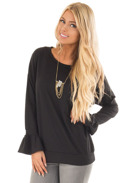 Black Crew Neck Sweatshirt with Long Sleeve Bell Cuffs front close up