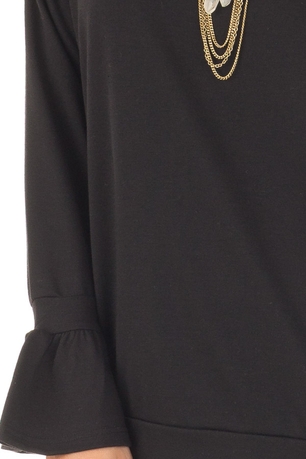 Black Crew Neck Sweatshirt with Long Sleeve Bell Cuffs detail