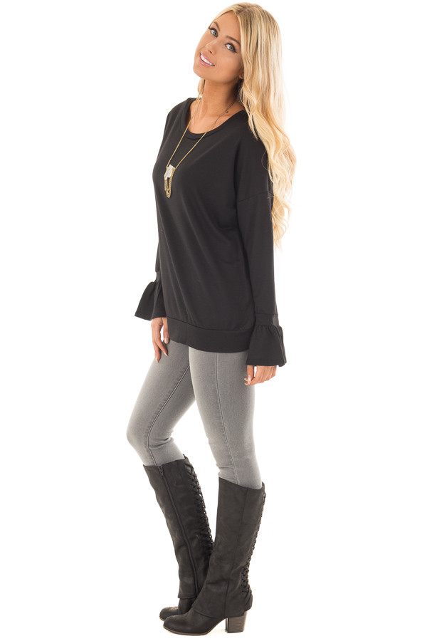 Black Crew Neck Sweatshirt with Long Sleeve Bell Cuffs side full body