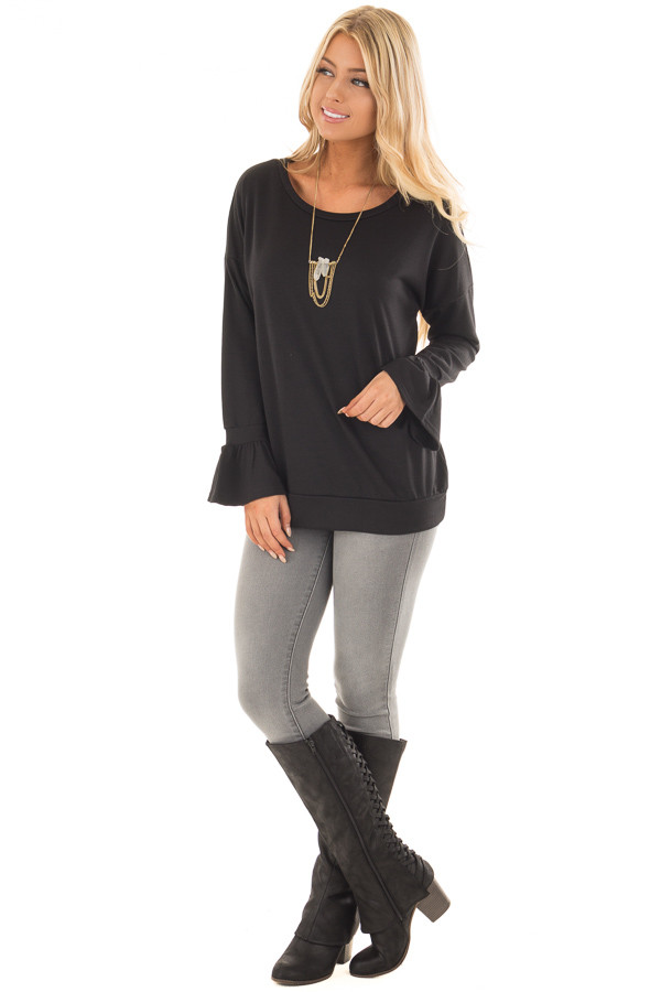Black Crew Neck Sweatshirt with Long Sleeve Bell Cuffs front full body