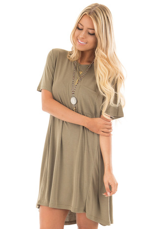 Olive Soft Knit Hi Low T Shirt Dress with Front Pocket front close up