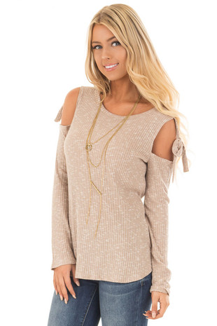 Taupe Two Tone Thermal Knit Top with Tie Cold Shoulders front close up