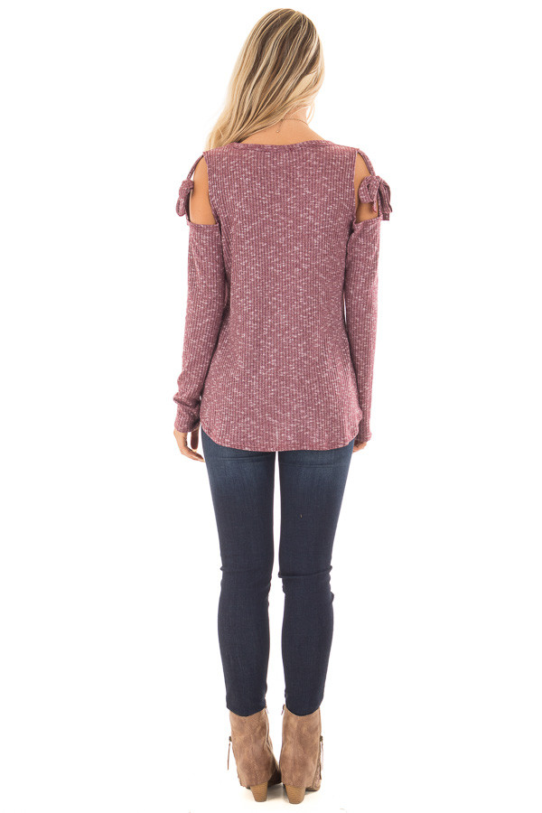 Burgundy Two Tone Thermal Knit Top with Tie Cold Shoulders back full body