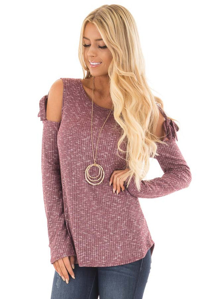 Burgundy Two Tone Thermal Knit Top with Tie Cold Shoulders front close up