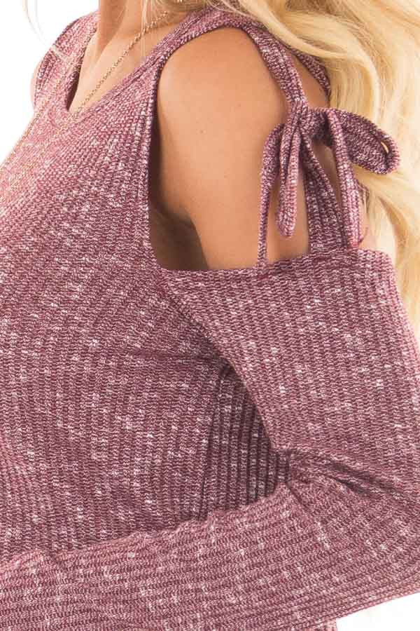 Burgundy Two Tone Thermal Knit Top with Tie Cold Shoulders detail