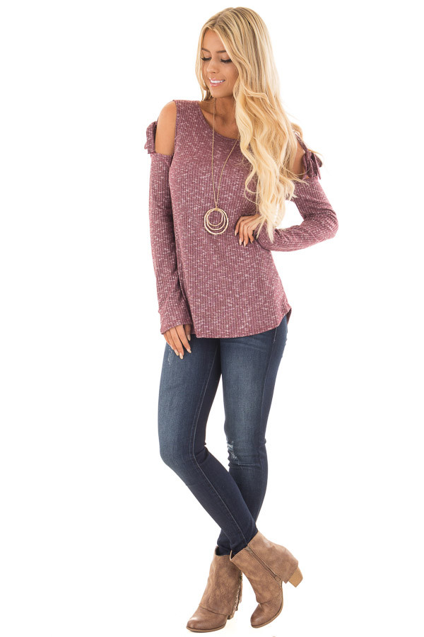 Burgundy Two Tone Thermal Knit Top with Tie Cold Shoulders front full body