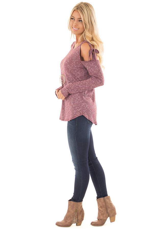 Burgundy Two Tone Thermal Knit Top with Tie Cold Shoulders side full body