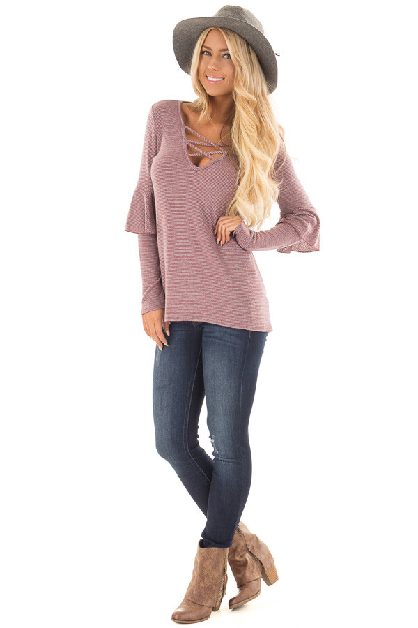 Burgundy Striped Knit Top with Ruffle Sleeve Detail front full body