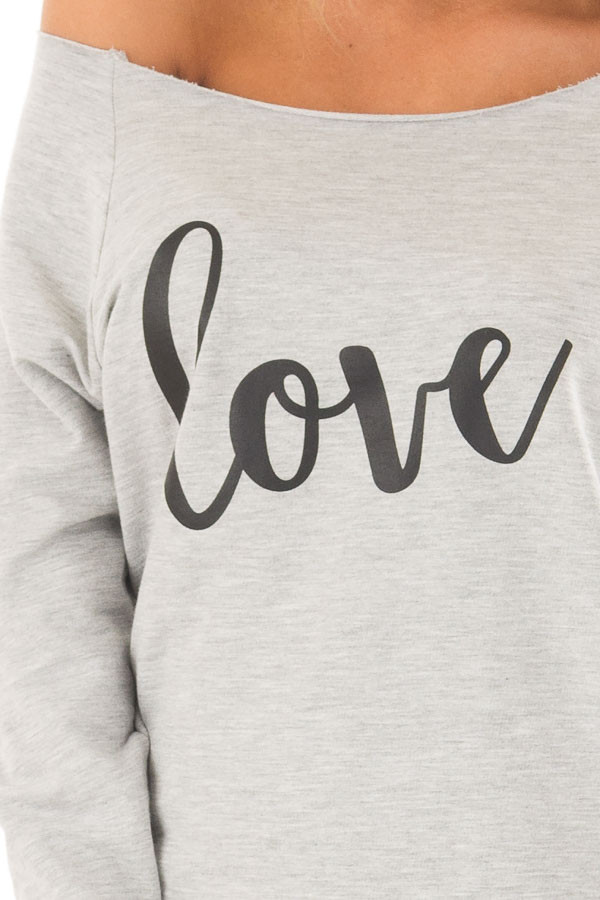 Heather Grey Off the Shoulder 'LOVE' Top detail