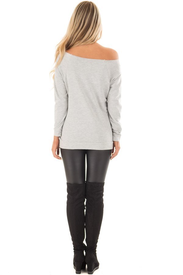 Heather Grey Off the Shoulder 'LOVE' Top back full body
