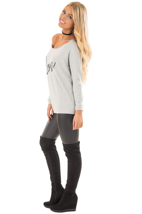 Heather Grey Off the Shoulder 'LOVE' Top side full body