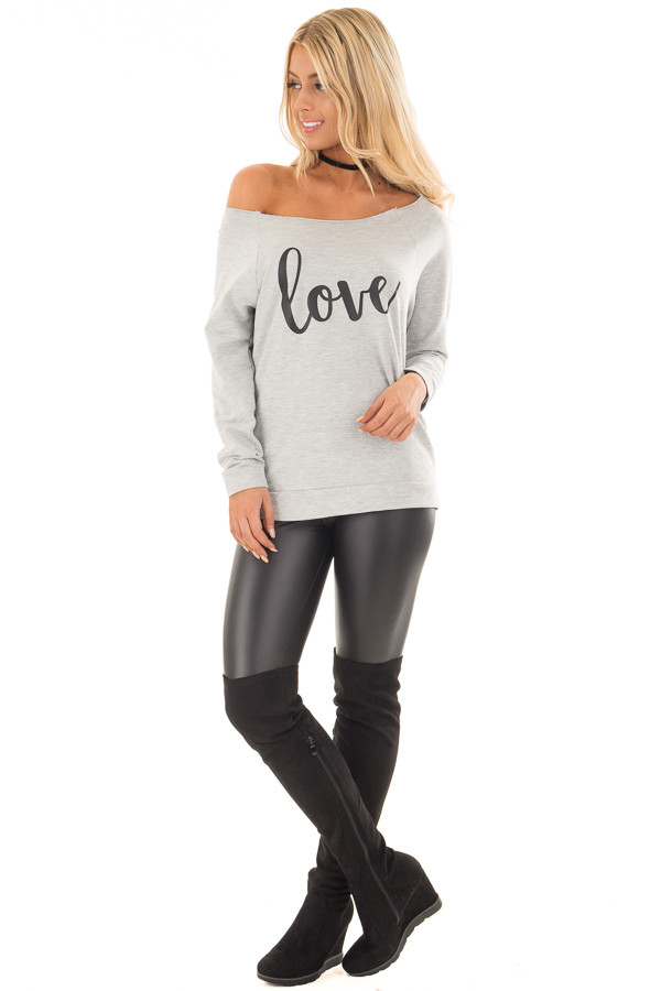 Heather Grey Off the Shoulder 'LOVE' Top front full body