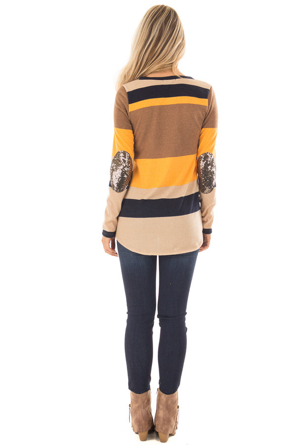 Mustard Color Block Sweater with Sequin Elbow Patches back full body