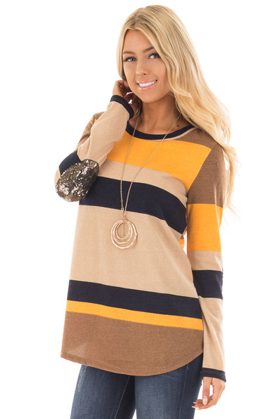 Mustard Color Block Sweater with Sequin Elbow Patches front close up