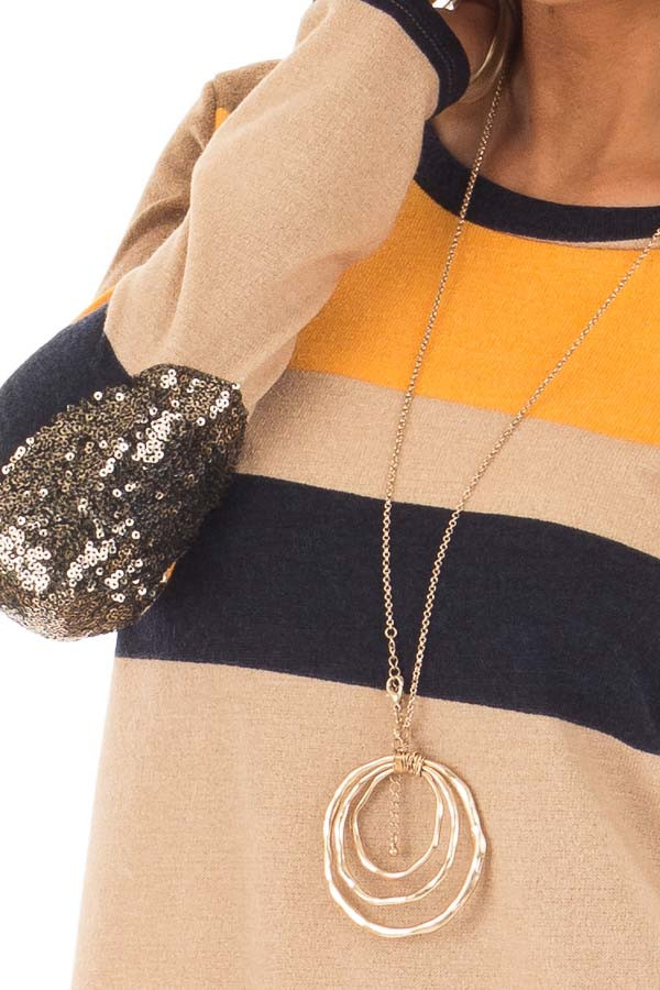 Mustard Color Block Sweater with Sequin Elbow Patches detail