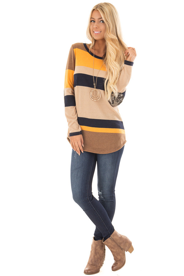 Mustard Color Block Sweater with Sequin Elbow Patches front full body
