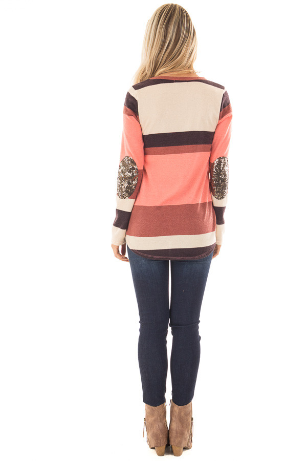 Bright Pink Color Block Sweater with Sequin Elbow Patches back full body