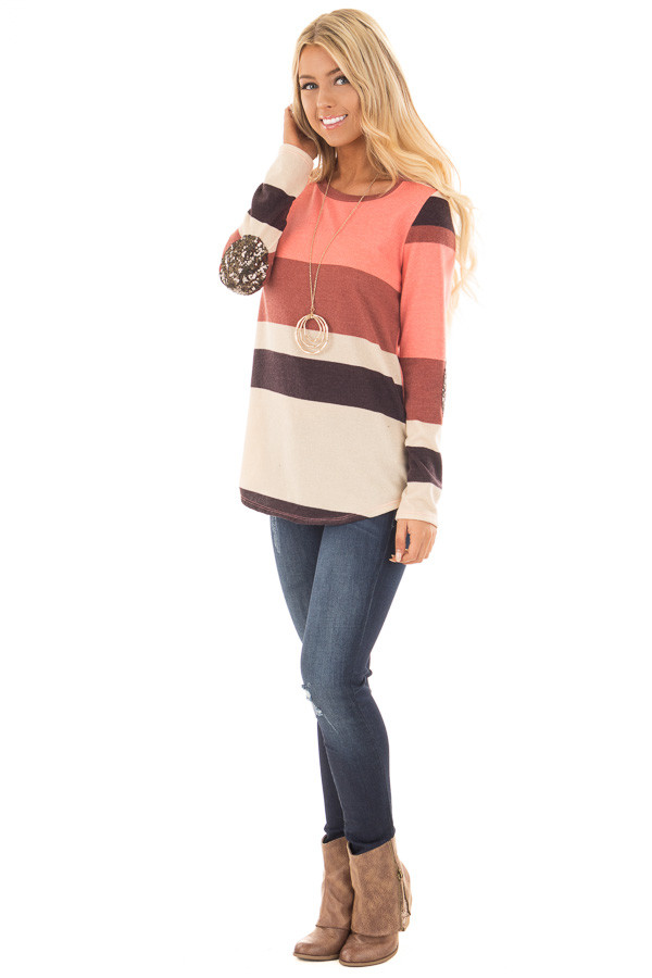 Bright Pink Color Block Sweater with Sequin Elbow Patches front full body