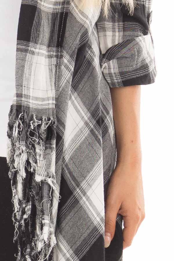Black and White Plaid Fringe Cardigan with Roll Up Sleeves detail