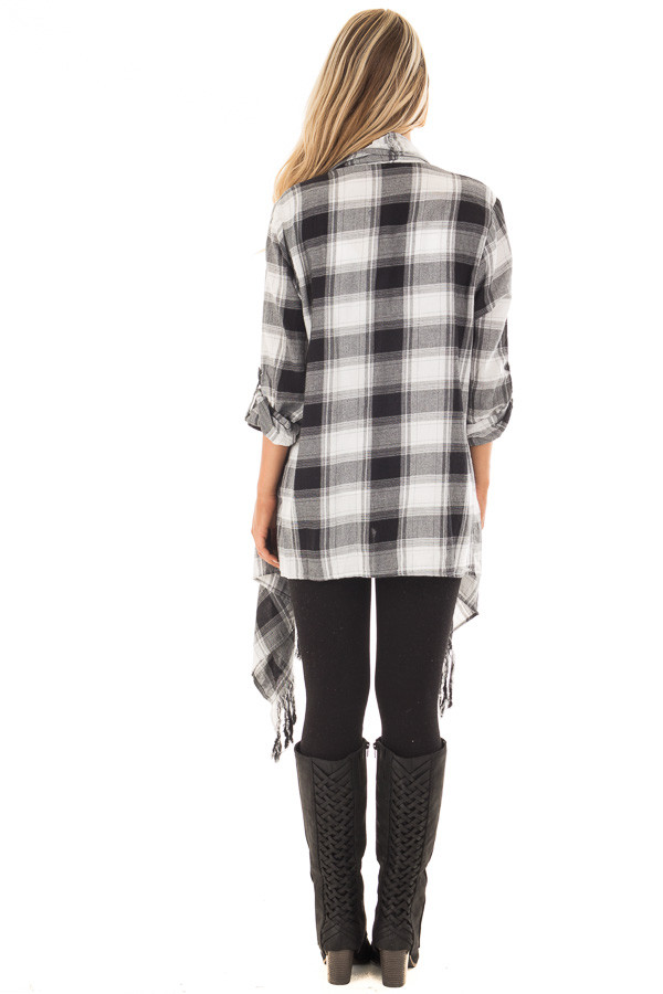 Black and White Plaid Fringe Cardigan with Roll Up Sleeves back full body