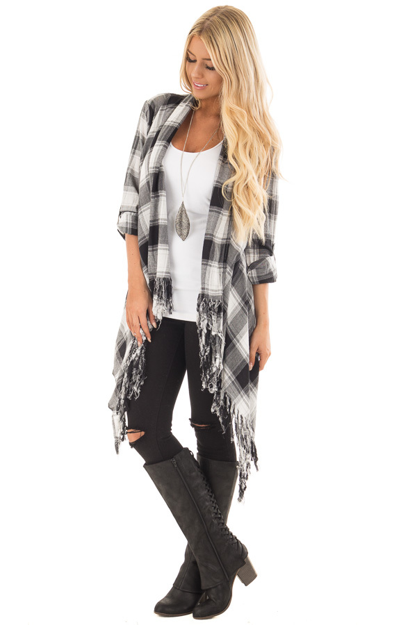 Black and White Plaid Fringe Cardigan with Roll Up Sleeves front full body