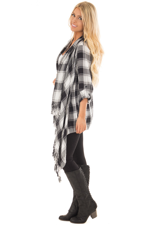 Black and White Plaid Fringe Cardigan with Roll Up Sleeves side full body
