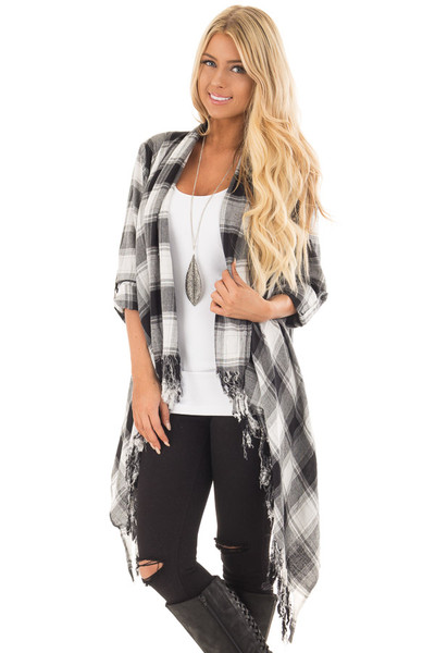 Black and White Plaid Fringe Cardigan with Roll Up Sleeves front close up