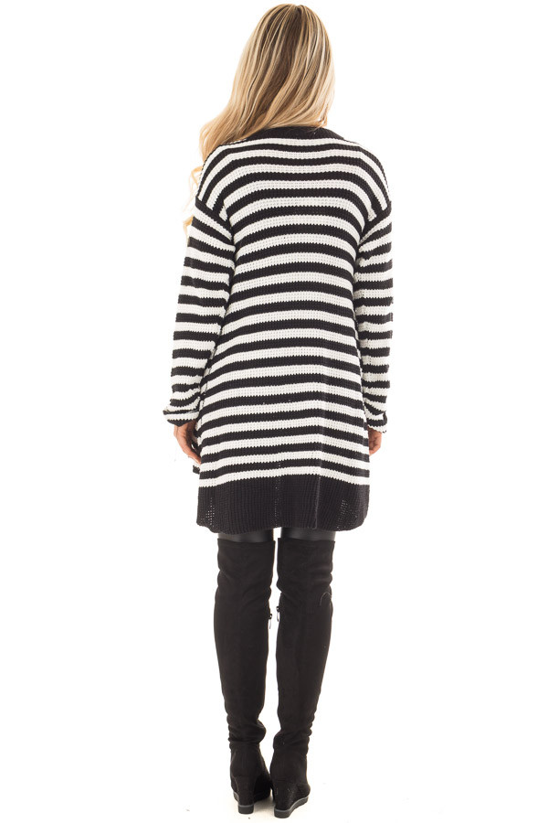 Black and White Striped Button Up Knit Hi Low Cardigan back full body