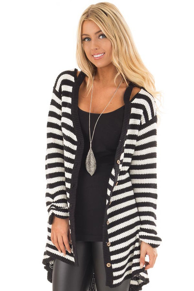 Black and White Striped Button Up Knit Hi Low Cardigan front close up