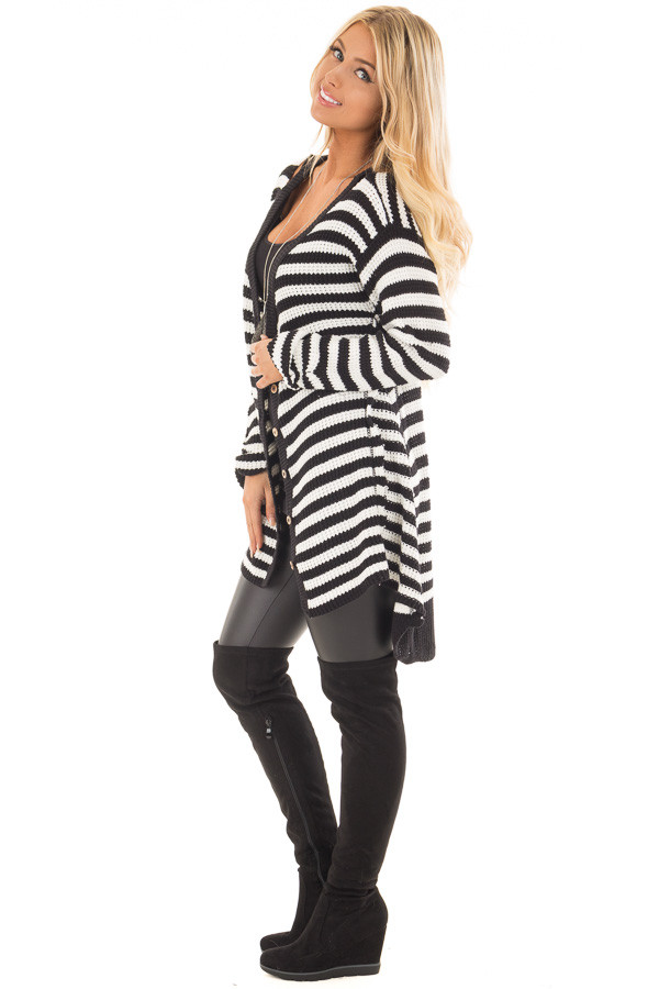 Black and White Striped Button Up Knit Hi Low Cardigan side full body