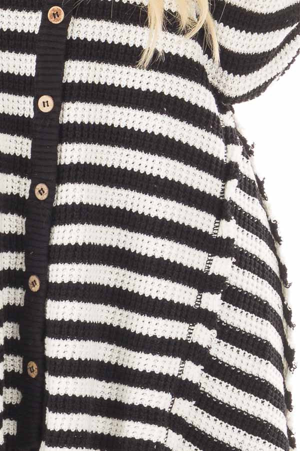 Black and White Striped Button Up Knit Hi Low Cardigan detail