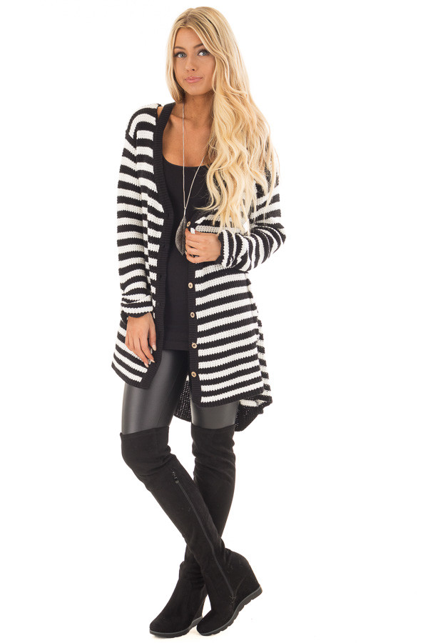 Black and White Striped Button Up Knit Hi Low Cardigan front full body