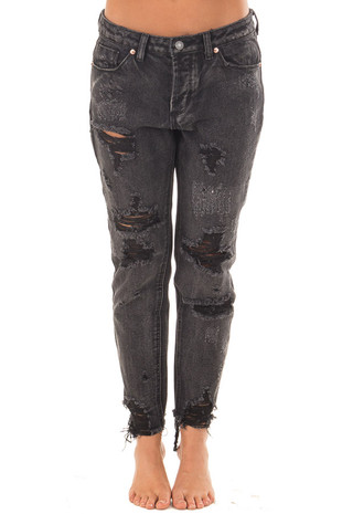 Vintage Black Distressed Skinny Jeans front view