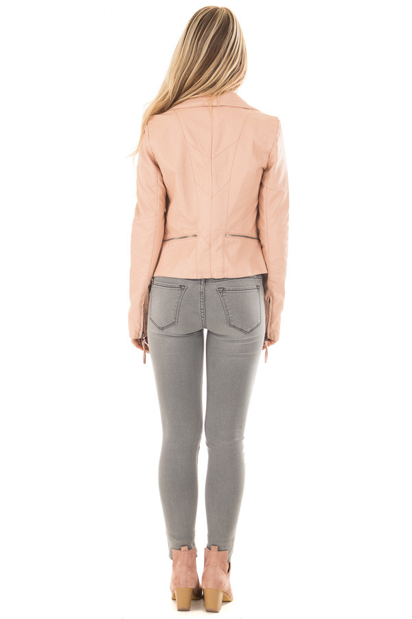 Dusty Blush Leather Jacket with Zipper Detail back full body