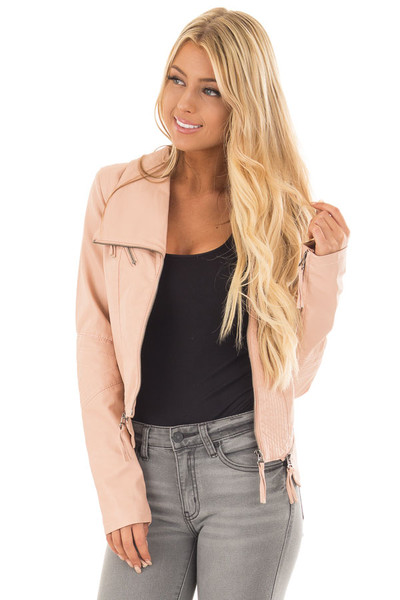 Dusty Blush Leather Jacket with Zipper Detail front close up