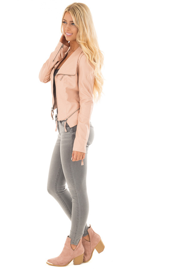 Dusty Blush Leather Jacket with Zipper Detail side full body