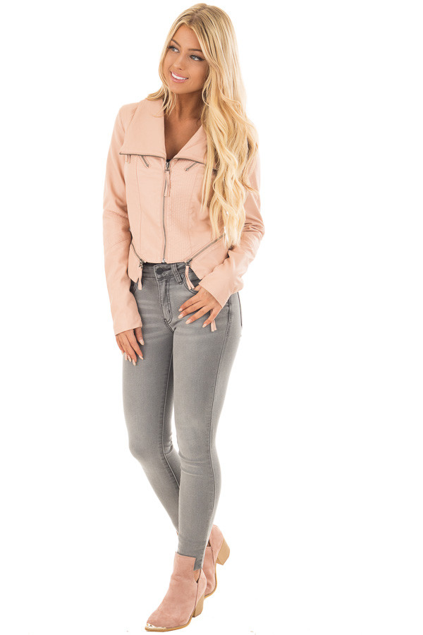 Dusty Blush Leather Jacket with Zipper Detail front full body