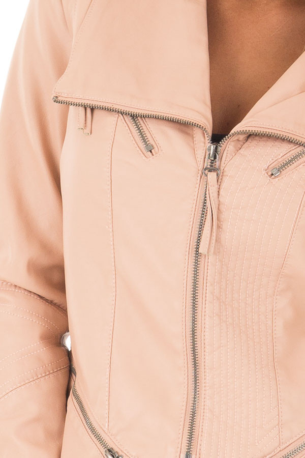 Dusty Blush Leather Jacket with Zipper Detail detail