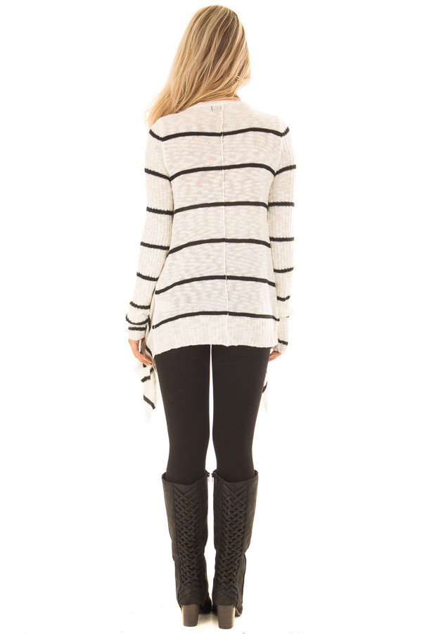 Cream and Black Striped Sweater with Asymmetrical Hem back full body