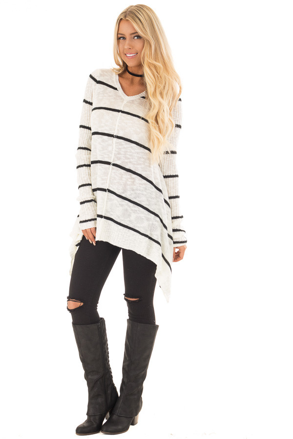 Cream and Black Striped Sweater with Asymmetrical Hem front full body
