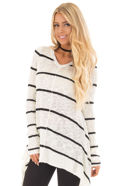 Cream and Black Striped Sweater with Asymmetrical Hem front close up