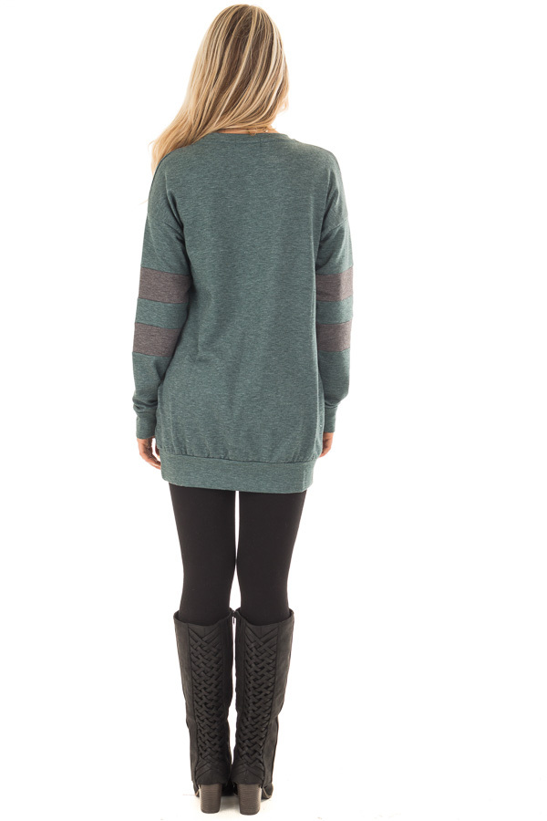 Forest Green Long Sleeve Sweater with Stripes on Sleeves back full body