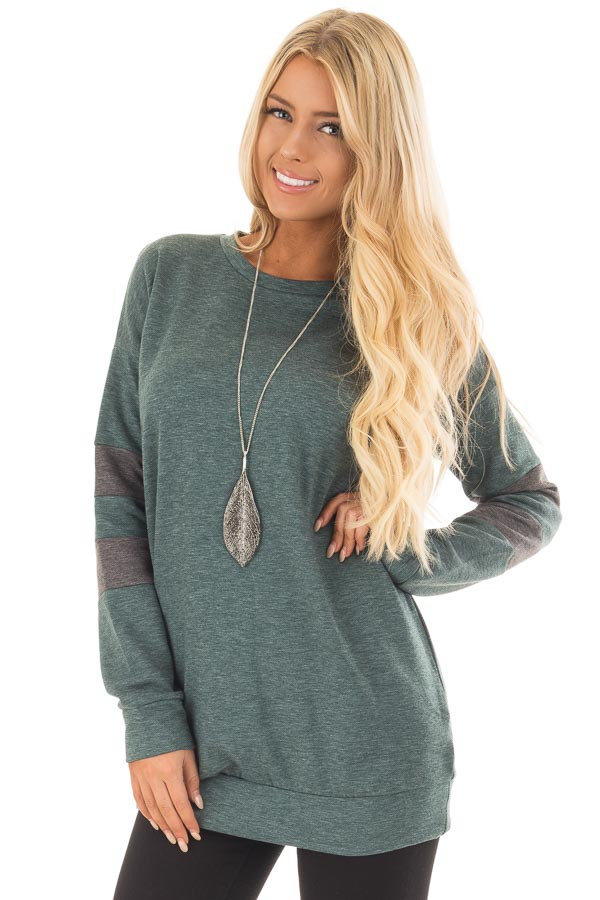 Forest Green Long Sleeve Sweater with Stripes on Sleeves front close up