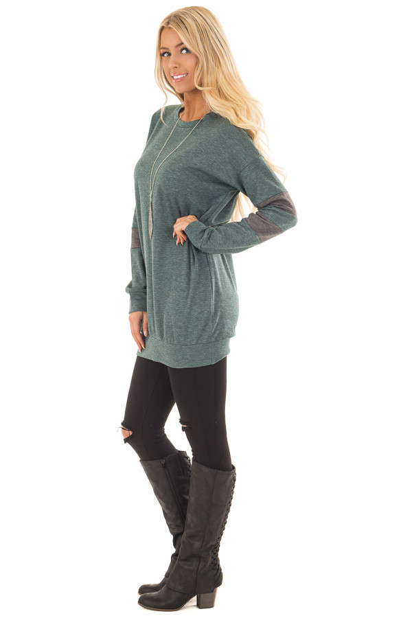 Forest Green Long Sleeve Sweater with Stripes on Sleeves side full body