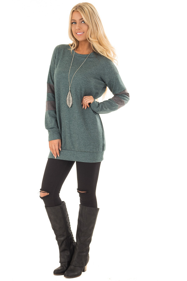 Forest Green Long Sleeve Sweater with Stripes on Sleeves front full body