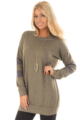 Olive Long Sleeve Sweater with Stripes on Sleeves front close up