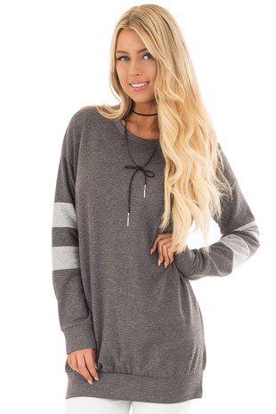 Charcoal Long Sleeve Sweater with Stripes on Sleeves front close up