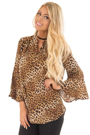 Leopard Print Split Neck Blouse with Bell Sleeve Detail front close up