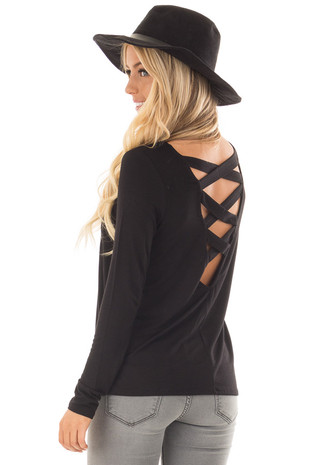 Black Top with Deep V Criss Cross Band Back back side close up