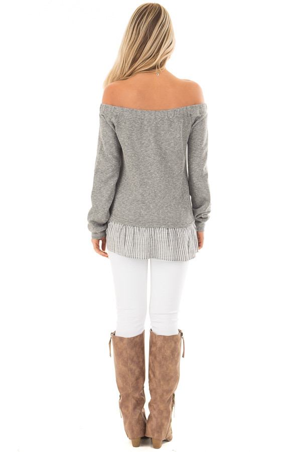 Heather Grey Knit Off Shoulder Top with Striped Peplum Trim back full body